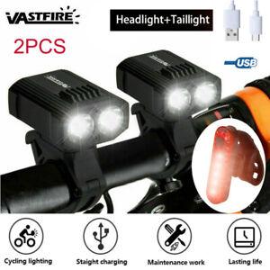 2X LED Fahrradbeleuchtung Fahrradlicht USB Fahrad Scheinwerfer Rücklicht Set