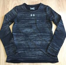 Under Armour Shirt Youth Large Fitted Cold Gear Black And Gray