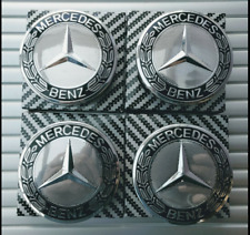 NEW Mercedes Benz Alloy Wheel Centre Caps 75mm Badges Black Hub Emblem A C E G S