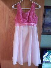 Vintage Pretty Pink Chiffon Fantasy Princess Prom Dress Party sz Med mint cond