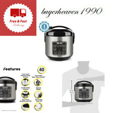 Rice Grain Cooker 2-8 Cups Digital Cool Touch Silver Stainless Kitchen Appliance