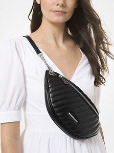 Michael Kors Peyton Large Chain Belt Bag Quilted Crossbody Black Silver $378 11