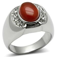 GIFTS FOR MEN Size 11 V Stainless Steel Silver Tone Centre Siam Onyx Stone Ring