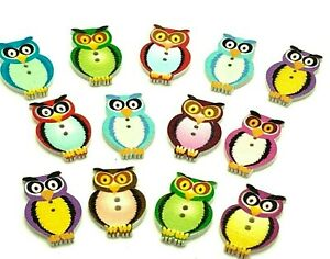 30 Wooden Owl Buttons Cardmaking Scrapbooking Craft Embellishment Mixed Colours