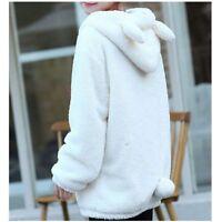 Women Winter Loose Bear Ear Hoodie Hooded Jacket Lady Warm Casual Outerwear Coat