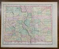 """Vintage 1902 COLORADO Atlas Map 14""""x11"""" ~ Old Antique THORNTON ARVADA DENVER"""