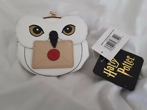 """NWT Harry Potter Hedwig Coin Pouch Snap Purse Snowy Owl Faux Leather Licensed 4"""""""