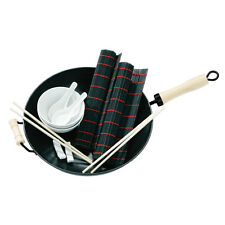 11pc Wok Set Non-Stick Carbon Steel Wood Handle Daily Kitchen Cooking Tools