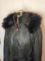 Christian Reed Women's Leather Jacket Faux Fur Removable Hood & Lining Large L