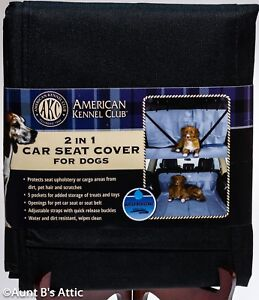 Pet Car Seat Cover AKC 2 In 1 5 Pocket Black New Car Seat Cover For Dogs