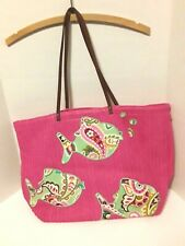 NWOT Vera Bradley Pink Tote Beach Bag Appliqued Fish Shoulder Handbag