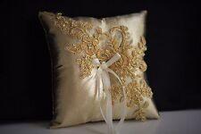 Lace Gold Ring Bearer Pillow / Gold wedding pillow