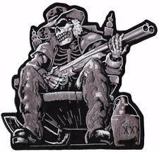 "Drunk Double Barrel Shotgun Skeleton Motorcycle Jacket Patch Large 8.5"""