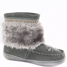 BRAND NEW WOMENS GREY MUKLUK BOOTS, REAL LEATHER SUEDE - SIZE 9