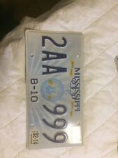 License Plate MS Mississippi 999 triple digit Guitar style