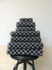 Luxury Egyptian Cotton 650gsm Black and Grey Checked Towels 6 Piece Bale Set