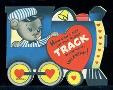 Vintage Valentine Greeting Card HOW CAN I GET ON THE RIGHT TRACK Bear in Train
