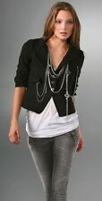 Larok Black Jacket Chain & Charm Embellished Short Sleeve Blazer S $495