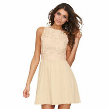 Little Mistress 2-in-1 Lace Dress In Biscuit Size 18