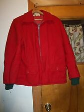 Vintage Wool Red Hunting Jacket Pine Trees 48  As Found Nice Condition