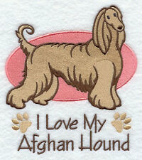 I Love My Afghan Hound Dog Set Of 2 Hand Towels Embroidered Beautiful