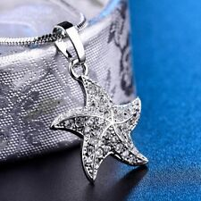 New Charms White Sapphire Crystal Starfish Pendant Silver/Gold Chain Necklace