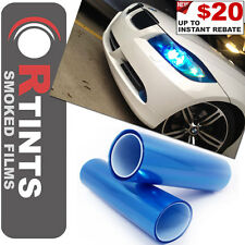"Pro 36""x12"" Blue Smoked Tint Film Sheet Vinyl Overlay PVC Covers for BMW & more"