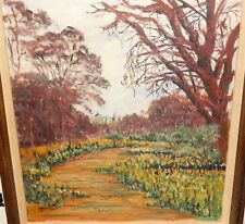 HAYLETT ORIGINAL OIL ON CANVAS CITY PARK LANDSCAPE PAINTING DATED 1977