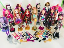 Huge Ever After High Doll Lot of 14 dolls Some accessories and booklets stands