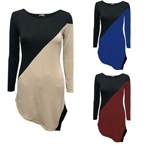 LADIES WOMENS ROUND NECK STRETCHY LONG SLEEVE ASYMMETRIC CONTRAST JUMPER TOP