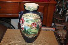 Antique Japanese Moriage Satsuma Pottery Vase Flowers Mountain Scene Water