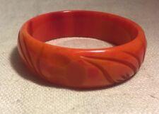 Antique Blood Orange Bakelite Carved Bangle Bracelet