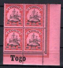 Togo 15 Bordure D'Angle Bloc de Quatre avec Inscription Neuf (B6073