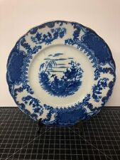 "Flow Blue Plate Antique Asian Geisha Upper Hanley England Court Shape 10.5"""