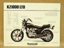 Vtg 1982 Kawasaki KZ1000 LTD Motorcycle Brochure Flyer Pamphlet Specifications