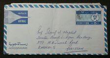 1981 OMAN TO PAKISTAN POSTALY USED AEROGRAMME 25 FILS L@@K