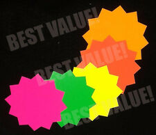 "3""x3"" Round 100pk Fluorescent Star Burst Price Neon Retail Tags Cards Signs"