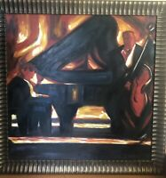 Large Oil Painting Of Two Musicians Playing A Piano And A Bass