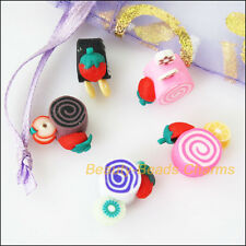 10Pcs Misti Polimero FIMO CLAY Torta Piatto Spacer Beads CHARMS 15mm