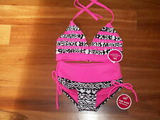 NWT JUSTICE GIRL SWIMSUIT 2 PC BIKINI BLACK WHITE HOT PINK SIZE 5 NEW