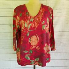MULBERRY Women's Top Size Large Floral Print Maroon & Green 3/4 Sleeve V Neck