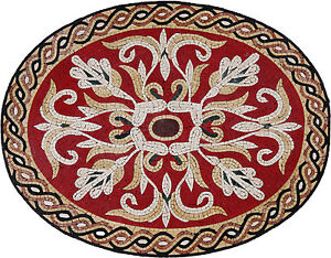 Oval Floral Red Vibrant Ropes Design Marble Mosaic GEO2397