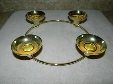 Partylite Century Shiny Brass/Gold Candle Ring•Holds 4 Tapers/Pillars/Cups•P7366