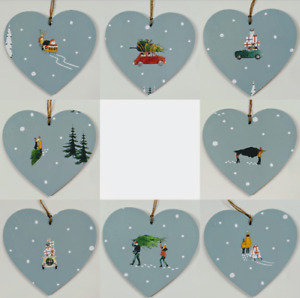 Wooden Hanging Heart Decoration in Sophie Allport Home For Christmas 10cm