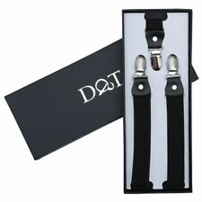 DQT Polyester Plain Solid Black Formal Adjustable Clip-on Page Boys Braces