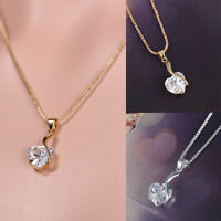 Women Fashion Jewelry Crystal Love Heart Necklace Pendant Chain Charm Rhinestone