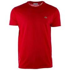 $125 Lacoste Men's Red Pima Cotton Crew-Neck Short-Sleeve Logo T-Shirt Size 3/S