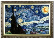Framed Starry Night Repro, Quality Hand Painted Oil Painting, 24x36in