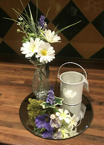 Handcrafted Artificial Flowers In Vase,T Light Holder.. Based On Circular Mirror