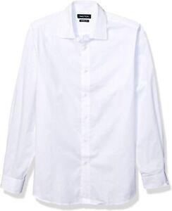 Nautica Mens Dress Shirt White Size 16 1/2 Classic Fit Performance $59- #066